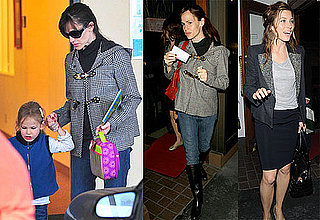 Photos of Jennifer Garner Picking Up Violet Affleck From School; at Madeo With Emma Roberts And Jessica Biel