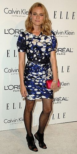 Diane Kruger Wears Blue and White Balenciaga Dress and Polka Dot Tights 2009-10-21 05:50:22
