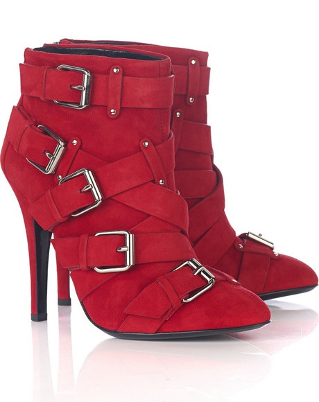 Balmain Suede Buckled Ankle Boots
