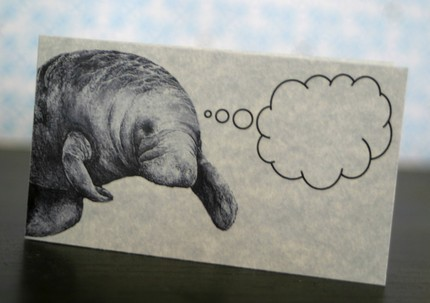 Let your manatee pal do the talking with this Mindful Manatee Mini Notecard set. ($3.25 for set of five).