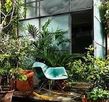 This dreamy green rocker blends right into the jungle-like patio.  Source
