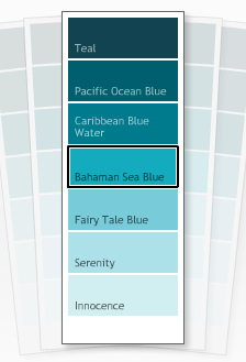 Start by painting your walls in Benjamin Moore's Bahaman Sea Blue, number 2055-40.