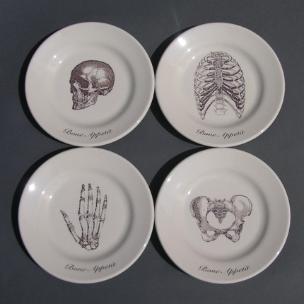 Go skeletal with these Bone Appetit Dessert Plates ($50).