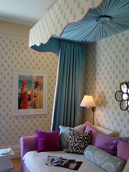 Turquoise mixes beautifully with other cool colors. Try pairing with purple accents and a neutral base. If you're using solid turquoise, you can add intrigue by creating texture with pleats and folds. Source: Flickr User godutchbaby