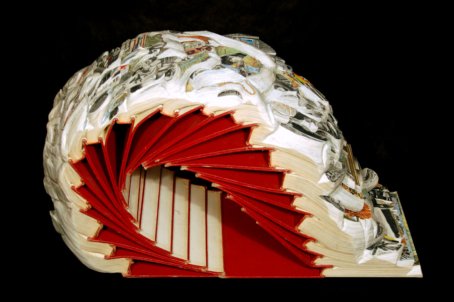 Artist Brian Dettmer created this book sculpture from an altered set of encyclopedias.