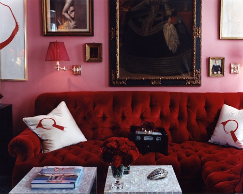 Interior designer Miles Redd isn't afraid to combine pink and red for a decadent eyeful of a room. Source