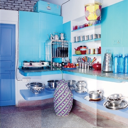 If you can commit, and you've chosen a brighter hue, try to tame your turquoise by painting only accent walls and mixing in white and stainless steel. Source
