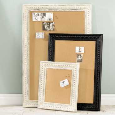 Corkboards, like these Ballard Designs Madison Corkboards ($89) can easily accommodate necklaces, earrings, and bracelets, too. Use long quilting pins with colorful heads to add a pop of color to the arrangement, and to provide a surface for hanging necklaces.