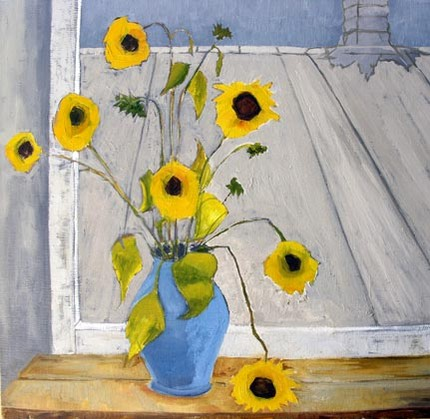 Although it's a still-life of some black-eyed Susans on a table in the artist's studio, this original South Side Flowers painting ($700) seems very Van Gogh-inspired to me. I love how the blue vase stands out against the dusty violet-gray background.