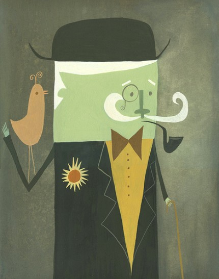I'm smitten with this limited edition print by Matte Stephens, Sir Melvin Habadasher ($35); he reminds me of Mr. Monopoly. I love the mustardy yellow of his shirt.