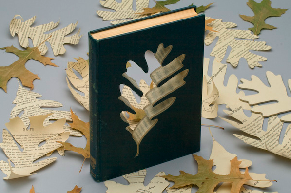 Artist Robert The explores how books can be manipulated and given new meanings and statements by cutting them into recognizable shapes.