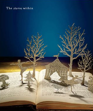 Make a fairytale seasonal scene by cutting pop-outs from an old book. Just make sure to leave one edge of your imagery still attached to the page.
