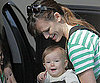 Slide Photo of Jennifer Garner with Seraphina Affleck Picking Up Violet Affleck