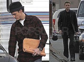 Photos of Justin Timberlake Holding a Script on the Set of the Social Network in LA