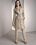 Dana Buchman Metallic Trench Coat &amp; Stretch Linen Pants- Pants- 