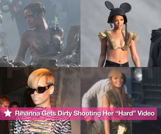 "Rihanna Gets Dirty Shooting Her ""Hard"" Video"