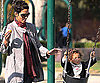 Slide Photo of Halle Berry and Nahla On Swings in LA