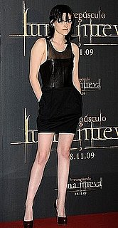 Kristen Stewart in Sheer and Leather Black Dress at New Moon Premiere in Madrid, Spain