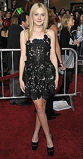New Moon Actress Dakota Fanning Wears Lace Valentino Dress and Red Satin Shoes to LA Premiere