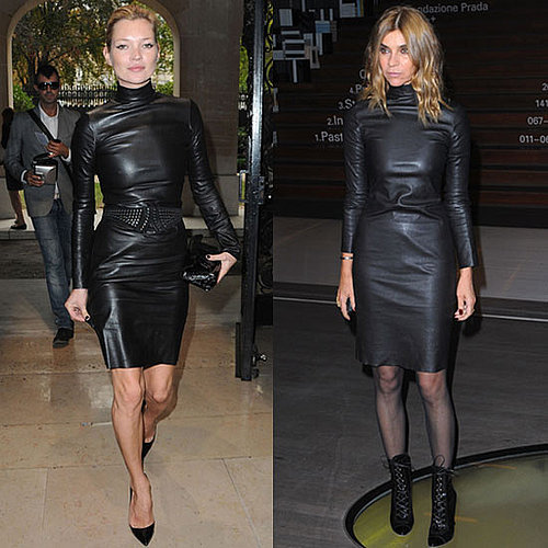 Photo of Kate Moss and Carine Roitfeld Wearing Same Black Leather Dress 2009-11-16 15:00:22