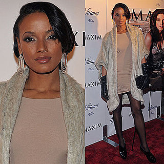 Selita Ebanks Wears Nude Dress and Elizabeth and James Fur Jacket