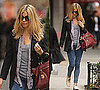Sienna Miller in Black Blazer, Striped Shirt, Red Prada Bag in New York City 2009-12-04 11:09:49