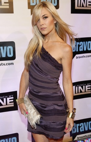 Photo of Tinsley Mortimer Holding Fringe Clutch at Bravo's Launch My Line Premiere in NYC