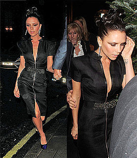 Victoria Beckham Wears Black Jeweled Zipper Dress From Her Spring '10 Collection in London