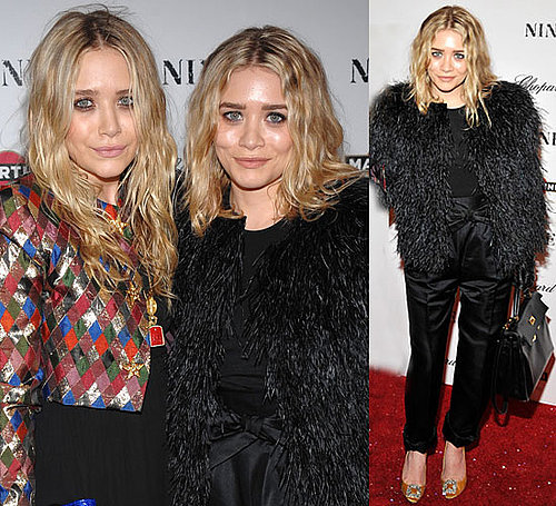 Photo of Ashley Olsen in Black Fur Coat at Nine Premiere in NYC