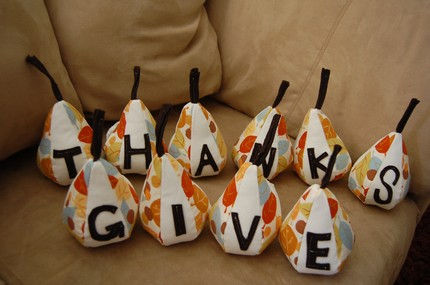 If you have 10 people coming over for dinner, put one of these Give Thanks Pears ($38) at each plate, with a slip of paper specifying the guest's name. Too cute!