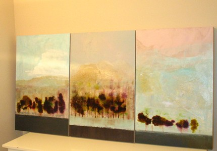 This Original Triptych Abstract Mixed Media Painting by Aisyah Ang ($650) is a similar size to the painting in the Cullens' home, and its abstract subject matter would fit right into their decorating scheme.