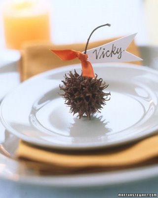 Use nuts, acorns, or pinecones as a natural addition to a table setting. Source