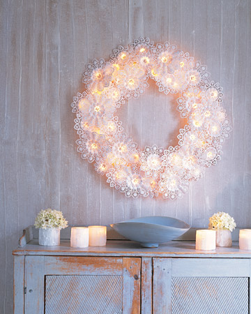 Take those paper doilies off the table and turn them into this gorgeous wreath, courtesy of Martha.