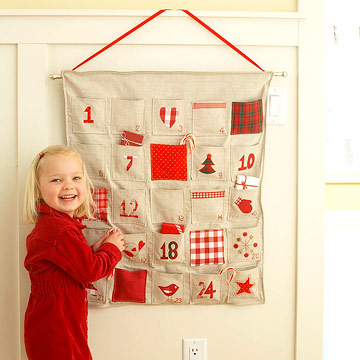 With a little stitching and ironing, you can make this hanging pocket calendar to fill with plenty of treats.