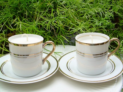 This Pair of Vintage Soy Candles ($20) is made from vintage gold-striped demitasse cups and saucers filled with white, unscented, sootless soy wax.