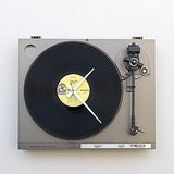 Audiophiles will dig this Recycled Record Player Clock ($120).