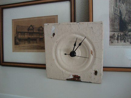I love the vintage look of this Architectural Rosette Upcycled Clock ($48).
