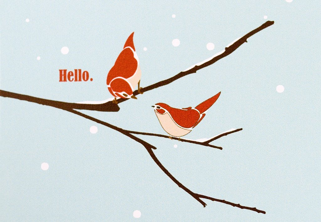 "Prefer a postcard? These customizable Hello Birdie ($12.50 for 10) can be printed with ""Happy Holidays,"" ""Merry Christmas,"" or ""Happy New Year."""