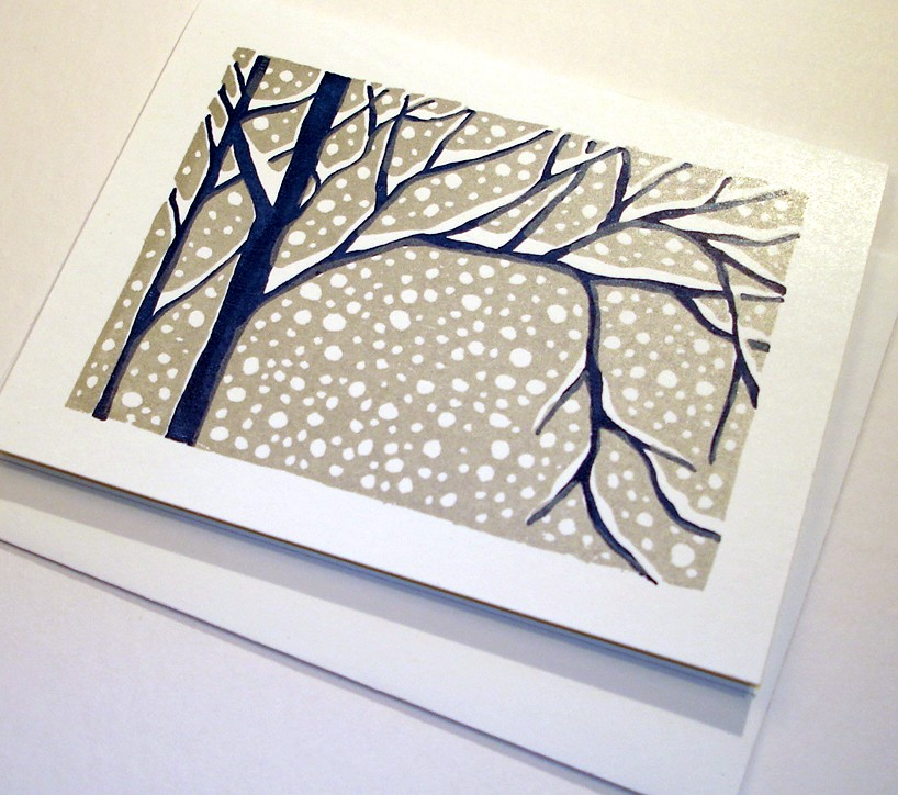 This Set of Four Snowy Day Cards ($10) can deliver a white Christmas anywhere with hand-printed artwork.