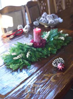 Try decorating with this pretty holiday runner centerpiece ($60) instead.