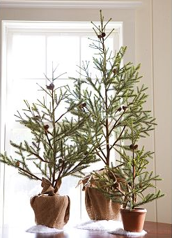 Conceal run-of-the-mill Christmas tree pots by wrapping them in burlap for an understated, sophisticated look.