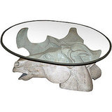 This Horse Head Coffee Table (contact dealer for price) was carved in Italy from bleached wood.