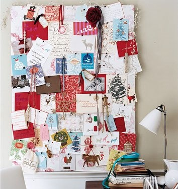 Domino recommends stacking cards into a collage-like arrangement. It's messy, festive, and fun.