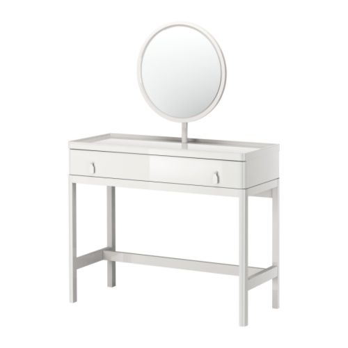 Go for a modern, streamlined look with Ikea's Vinstra Vanity Table With Mirror ($250).