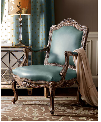 This Turquoise Leather Chair ($1,800) is definitely over the top, but I don't think Holmes would mind.