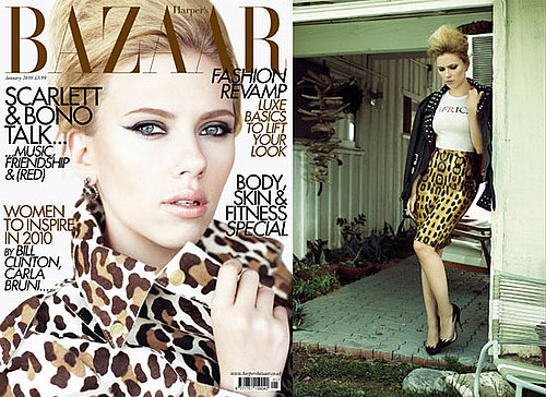 Photos of Scarlett Johansson on Harper's Bazaar Cover January 2010 Issue Interview With U2's Bono About RED Campaign and Clothes
