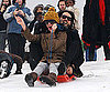 Slide Photo of Russell Brand and Katy Perry Sledding in UK