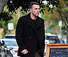 Slide Photo of Ben Affleck Grabbing Coffee In a Black Pea Coat In LA