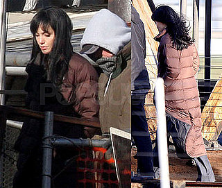 Photos of Angelina Jolie Wearing a Brown Coat on the Set of Salt in NYC