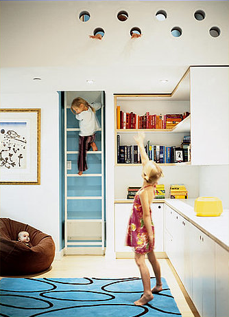 In a 700-square-foot Tribeca loft, space is maximized by using a ladder instead of a staircase.
